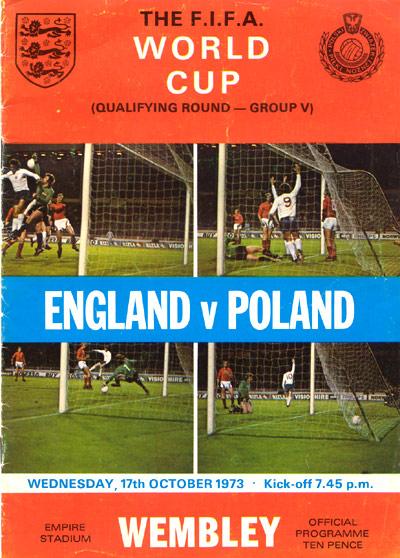 Le programme officiel du match Angelterre - Pologne 1973
